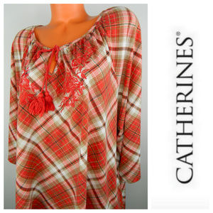 CATHERINES 3X 4X 26 28 Tunic Shirt PLAID Orange